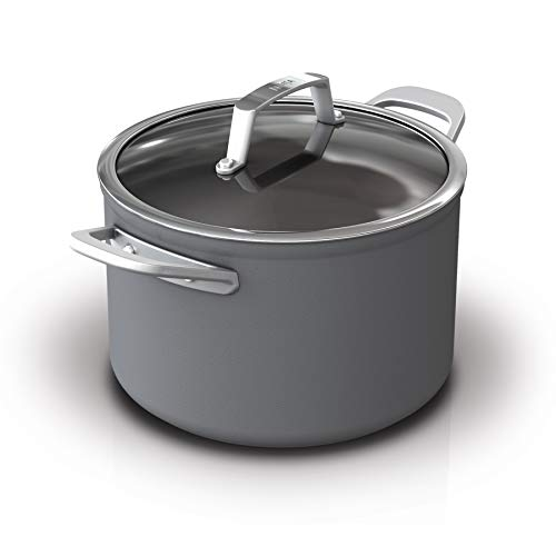Ninja C30465 Foodi NeverStick Premium Hard-Anodized 6 1/2-Quart Stock Pot con tapa de vidrio, gris piz