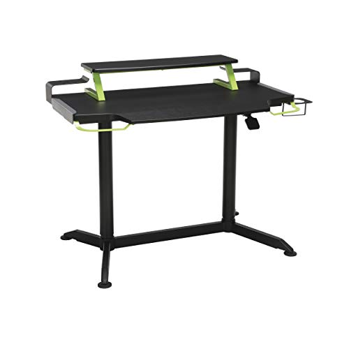 """RESPAWN 3000 Computer Ergonomic Height Adjustable Gaming Desk, in Green (RSP-3000-GRN), 23.625"""" D x 42"""" W x 33.5""""-49.5"""" H"""