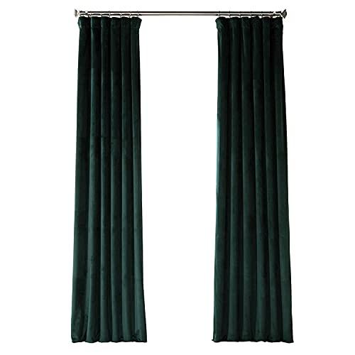 HPD Half Price Drapes VPYC Heritage Plush Velvet Curtain (1 Panel), 50 X 108, Forestry Green