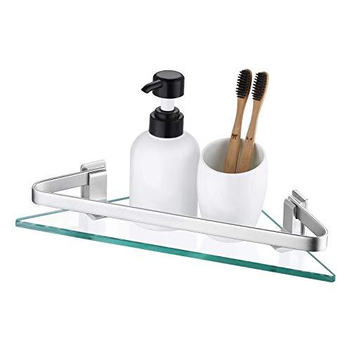 KES Estanteria Baño Esquina, Estante Ducha de Vidrio Balda Rinconera con Vidrio Templado Grueso Aluminio Anodizado Plata, A4128A