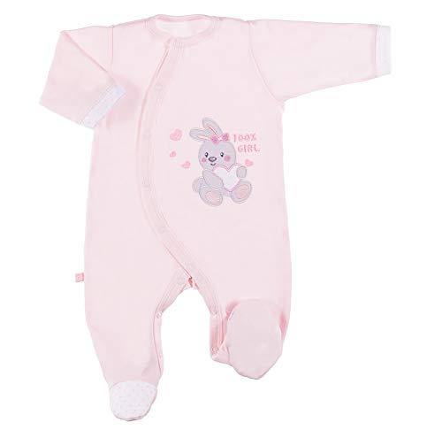 Eevi Newborn Baby Strampler - Mädchen Jungen Unisex - Langarm - Baumwolle - Strickerei - Füßchen - Rosa - Größe 56