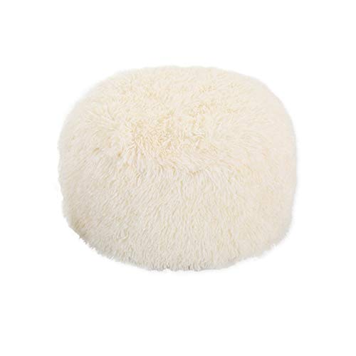 Without Faux Fur Inflatable Chair Sofa Stool Pluffy Foot Rest Round Footstool for Women Girls Living Room Home Decoration 20x14 Inch (Color : C)