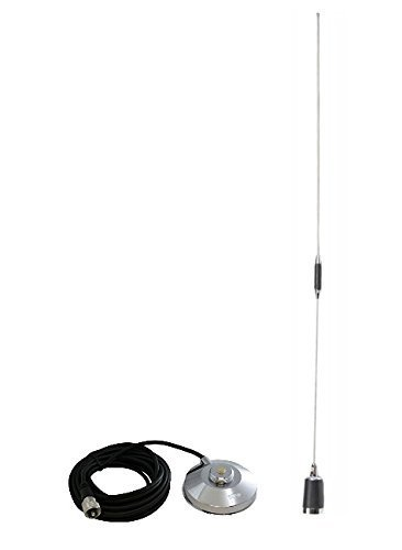 BR-180 & 1239 Amateur Dual-Band NMO 38 inch Antenna VHF 144-148 & UHF 430-450 MHz for Mobile Radios with Magnetic Mount
