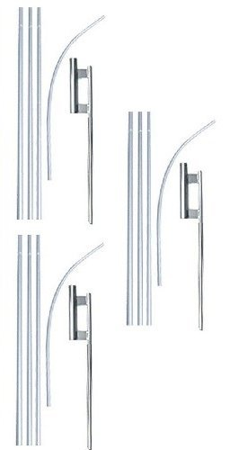 Swooper Flutter Flag Hardware-THREE 4 Piece Pole Kits with Ground Spikes