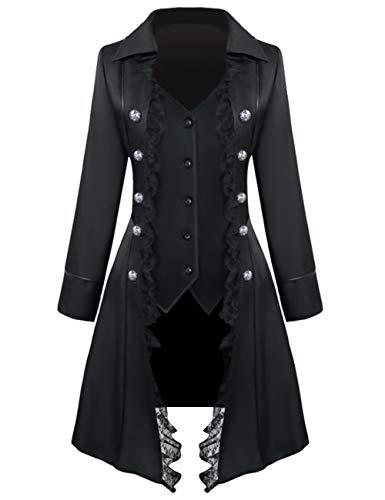 Womens lace Steampunk Thin Jacket Casual Jackets Retro Victorian Punk Women Medieval Jacket Coat, Thin-black, Medium