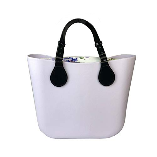 Mini Size Floral Canvas Insert Flat Handle O Bag Obag Style Waterproof Eva Women Rubber Silicon Handbag Bag,Mini Light Purple