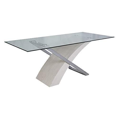 DMORA Moderno, 180x90 cm, Legno e Vetro, Tavolo da Pranzo, Design Innovativo, Bianco