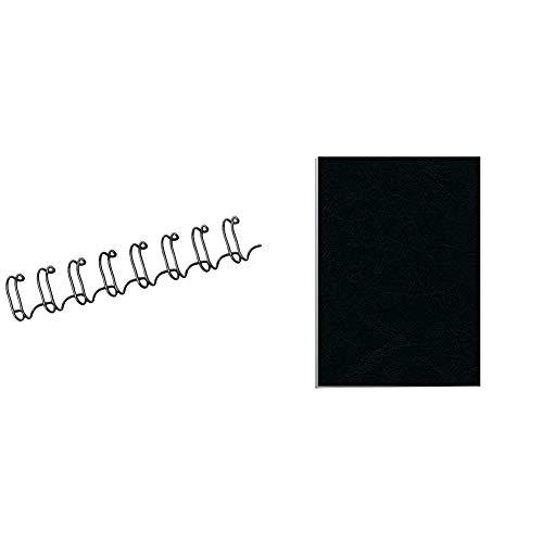 Fellowes CRC53261 - Pack de 100 canutillos tipo wire, doble espiral + Portadas para encuadernar de cartón símil piel Delta Cuero, extra rígido, 250 micras