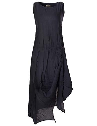 Vishes - Alternative Bekleidung - Ärmelloses Lagenlook Kleid aus Baumwolle zum Hochbinden schwarz 44