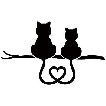 Amazon スタイリッシュ お洒落 オシャレ ネコ ねこ キャット 猫 Cat ペット 動物 アニマル Animal アート Art シルエット ステッカー シール デカール 15cm 11cm ブラック シール ステッカー ホビー