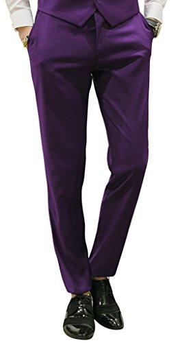 MOGU Mens Slim Fit Front Flat Casual Pants US Size...