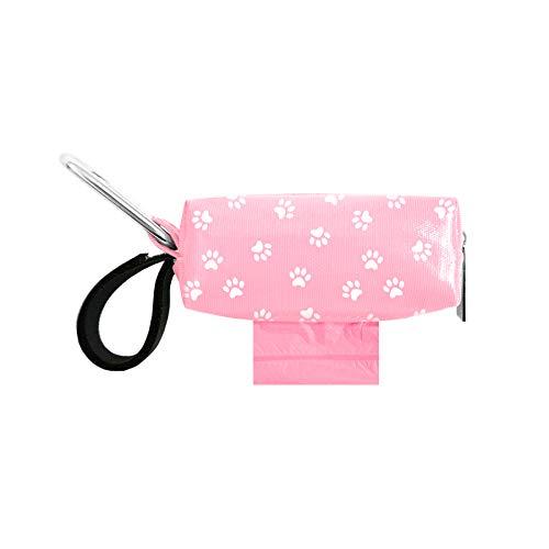 Doggie Walk Bags Pink Paw Dog Poop Bag Holder for Leash, Dog Waste Bag Dispenser with Metal Clip and Adjustable Strap, Tie Handles