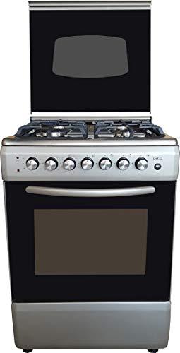 Cocina LAREL plateado/inoxidable 60 x 60 4 fuegos con horno eléctrico, grill eléctrico y tapa de cristal