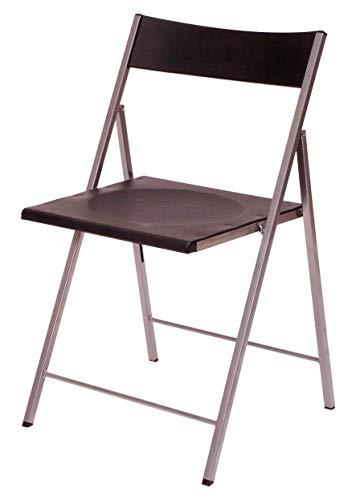 Eurosilla Slim - klapstoel voor woonkamer, zwart, 77 x 43 x 45 cm