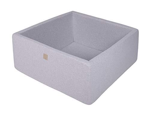 MEOWBABY Bällebad 90X90X40cm/Ohne Bälle ∅ 7Cm Baby Spielbad Mit Bällen Quadratisch Made In EU Hellgrau