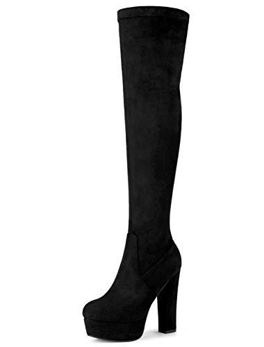 Allegra K Botas De Tacón Alto De Bloque sobre La Rodilla con Plataforma para Mujer Negro 37