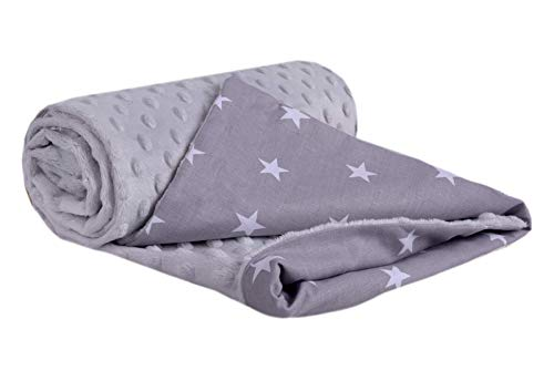 Krabbeldecke 100% Baumwolle 75x100cm doppelseitig multifunktional Minky Kuscheldecke für Kinderwagen weich flauschig (weiße Sterne mit grauem Minky)