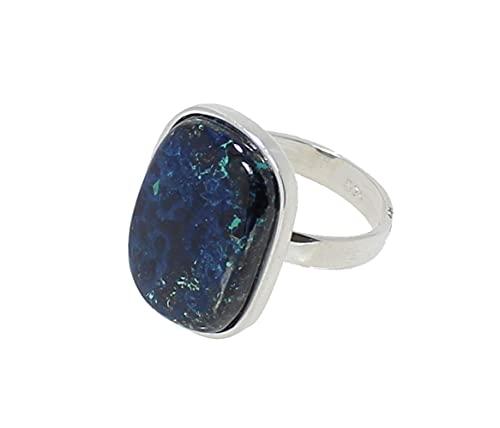 budawi® - Azurit-Malachit Ring Fingerring 925er Silberring Größe 58