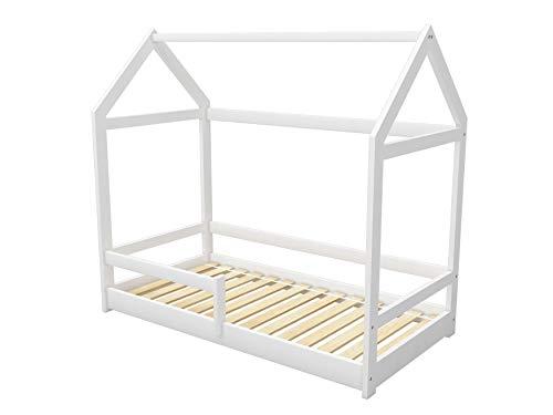 ACMA Kinderbett Kinderhaus Kinder Bett Holz Haus Schlafen Spielbett Hausbett 2 - Massivholz (Weiß, 70 x 140 cm)