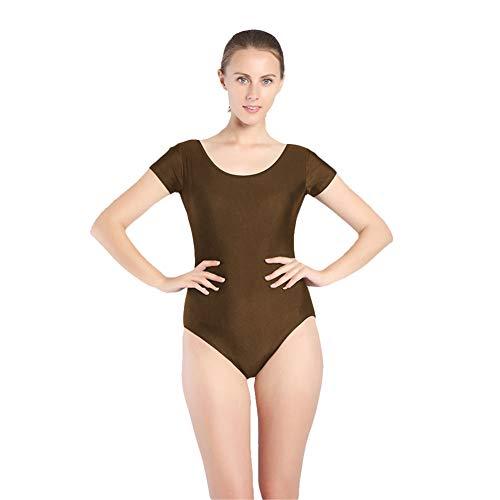 SK Studio Mujer Danza Ballet Gimnasia Leotardo Body Clásico Manga Corta Cuello Redondo Elástico Traje de Baile Marrón L