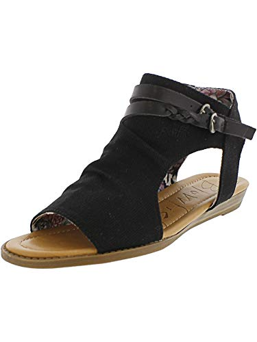 Blowfish Malibu Womens Blumoon Sandals, Black Rancher Canvas/Dyecut Pu, 10.0 M