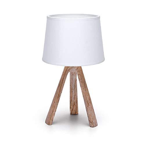Aigostar - Lámpara de Mesa, LED Luz Mesita de Noche E14, Pantalla de Tela, Lámpara Escritorio Diseño Clasico Vintage para Dormitorio, Estudio, Salon etc