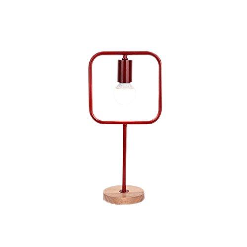 Lampe de bureau géométrique créative lampe de table en fer forgé en bois massif ( Couleur : Rouge )