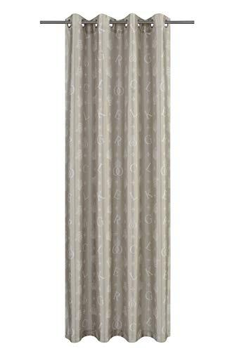 Löscher-Tirol Faux Silk Bedruckt mit 8 Silberdösen Ösenschal, Stoff, Taupe, 245 x 140 x 1 cm
