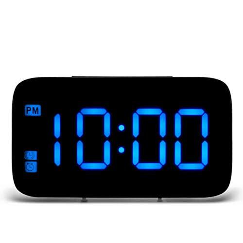 JieMiTe Tisch Desktop-Uhren LED Digitalanzeige Wecker Sprachsteuerung Hintergrundbeleuchtung Electronic Snooze USB/AAA Powered Home Decoration-Blau_EIN
