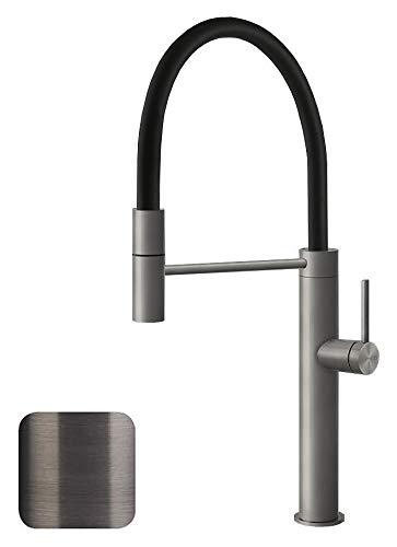Gessi 60010 707 keukenkraan met uittrekbare douche, metalen afwerking, zwart