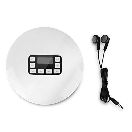 VBESTLIFE Lettore CD Portatile con Cuffie Portatile Shockproof Bluetooth HiFi Lettore Musicale Stereo Portable CD Player con Auricolari in Ear con Display LCD(Bianco)