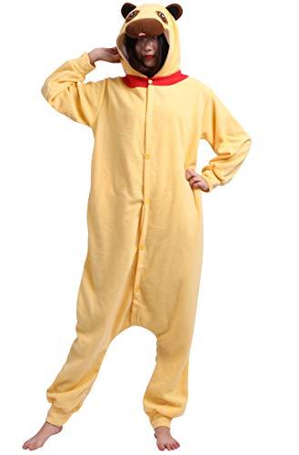 DATO Pyjama Tier Onesies Gelb Mops Erwachsene Kigurumi Unisex Cospaly Nachtwäsche für Hohe 140-187CM