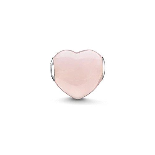Thomas Sabo Damen-Bead Herz Karma Beads 925 Sterling Silber Rosenquarz pink rosé K0202-034-9