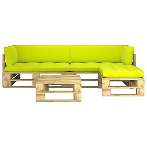 Susany Muebles de palets 4 pzas y Cojines Madera Pino impregnada Verde 29# Conjuntos Sofa Exterior Patio Sofás Palets