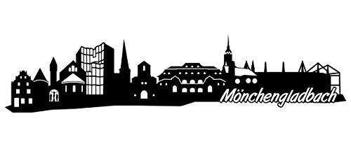 Samunshi® Mönchengladbach Skyline Wandtattoo Sticker Aufkleber Wandaufkleber City Gedruckt Mönchengladbach 120x28cm schwarz