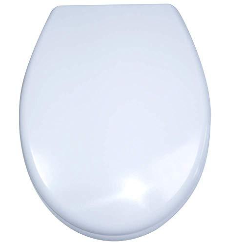 WEIERR WC Sitz Toilettendeckel Absenkautomatik mit Absenkautomatik/Softclose, Universal Größe Toilettensitz aus Hartplastik Antibakteriell Klodeckel aus Duroplast, 25 Bilder zur Auswahl (Weiß)