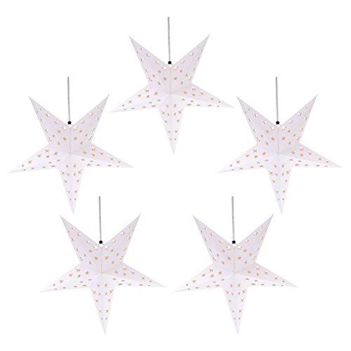 Minkissy - Lote de 10 farolillos de papel con forma de estrella con purpurina pentagram, lámpara LED para colgar en vacaciones, boda, fiesta de cumpleaños, celebración, decoración en casa 60