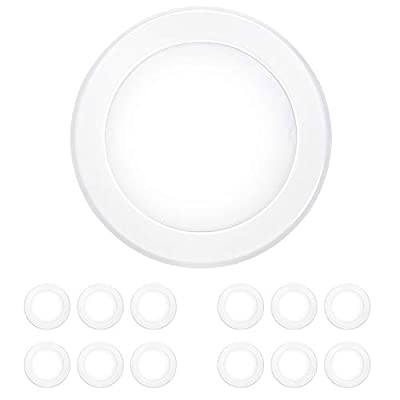 Hykolity 12 Pack 5/6 Inch Dimmable LED Disk Light Flush Mount Recessed Retrofit Ceiling Lights, 15W=120W, CRI90, 1050lm, 5000K Daylight, Installed in Junction Box or Recessed Can, ETL Listed