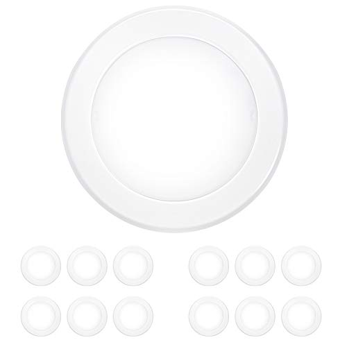 12 Pack 5/6 Inch Dimmable LED Disk Light Flush Mount Recessed Retrofit Ceiling Lights, 15W=120W, CRI90, 1050lm, 5000K Daylight, Installed in Junction Box or Recessed Can, ETL Listed