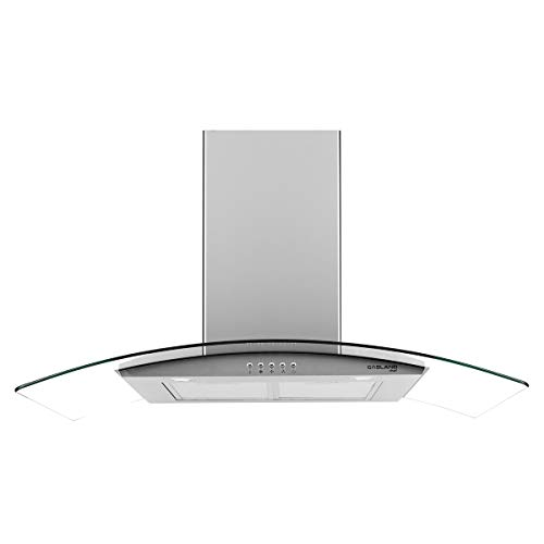 """36"""" Range Hood, GASLAND Chef GR36SP Curved Glass Stainless Steel Wall Mount Range Hood, 3 Speed 450 CFM Ducted Kitchen Hood with LED Lights, Push Button Control, Convertible Chimney, Aluminum Filter"""