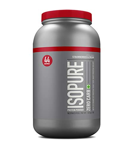 Isopure Zero Carb 100% Whey Protein Isolate Powder with 25gm Protein per serve - 3 lbs, 1.36 kg Strawberries & Cream