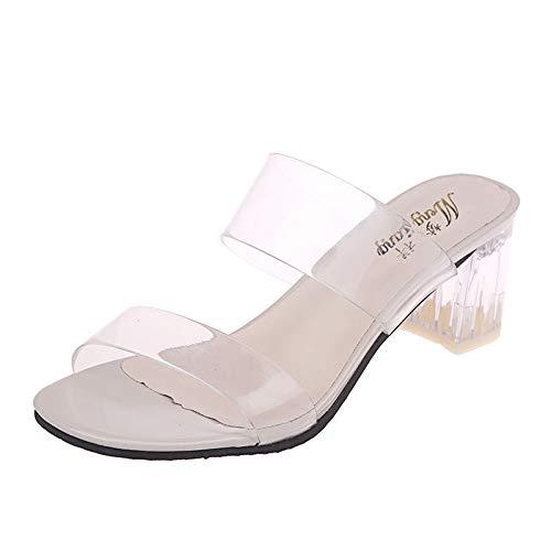 TOPEREUR Damen Sandaletten Mit Absatz Transpamenten Pantoletten Sommer Sandalen Frauen Mode Sandaletten Transparente Sandalen Pumps Blockabsatz High Heels