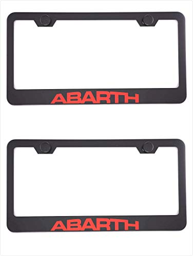 Qptimum Abarth Black Racing Stainless Steel License Plate Frame Cover For Fiat ABARTH (2)