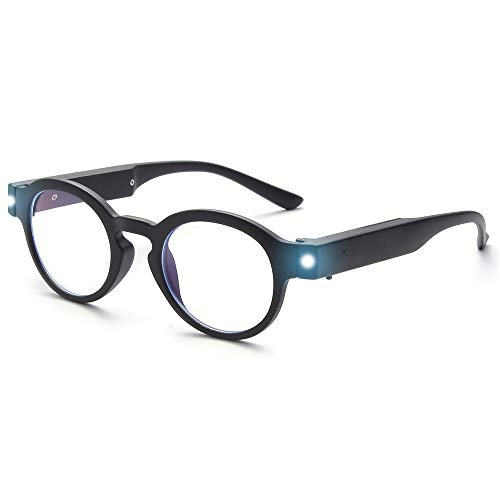 OuShiun Reading Glasses with Light Bright LED Readers Blue Light Blocking Anti Eyestrain Round Eyeglasses USB Rechargeable Lighted Nighttime Clear Vision Unisex (Black, 1.5)