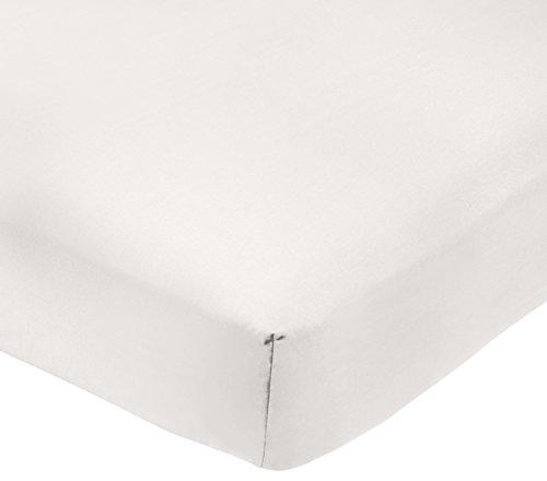AmazonBasics - Sábana bajera ajustable (polialgodón 200 hilos) Blanco - 135 x 190 x 30 cm