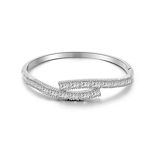 LWSHOP LYRStore886 Joyería de Mujer Pulsera Plateada Plateada de Plata de Diamante Completo de Mujer Pulsera geométrica de Oro Rosa. Mano de Obra Exquisita, práctica (Color : Silver)