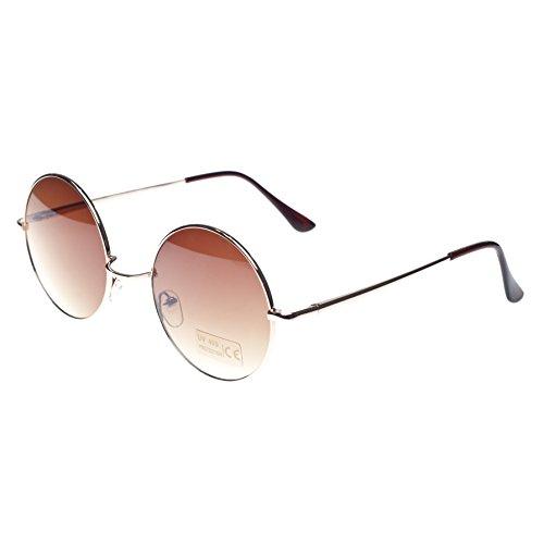 Gafas de sol redondas estilo John Lennon, diseño años 50, marca Morefaz Blanco marrón regular