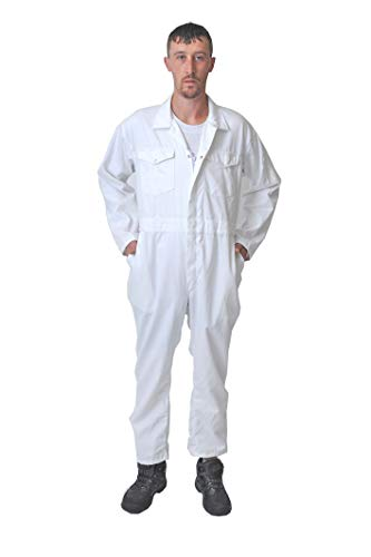 Road Master Herren-Overall, Polyester-Baumwolle, Maler-Anzug, Dekorateure, Mechaniker, Arbeitskleidung Gr. XXXXX-Large, weiß