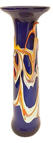Oberstdorfer Glashütte Vase Kobaltblau Moderne Glasvase schmal Bunte dekorative Blumenvase mit Dekor aus farbigem Glas, Mehrfarbig, mundgeblasen Höhe ca. 29 cm