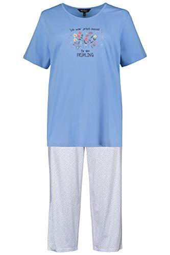 Ulla Popken Damen große Größen Pyjama, Frühling Nachthemd, Mehrfarbig (Multicolor 72797890), 58-60